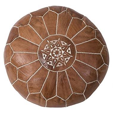 Casablanca Market Moroccan Embroidered Cotton Stuffed Leather Pouf/Ottoman, Desert Tan