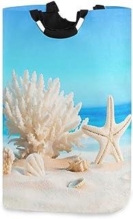 Corals Starfishes Seashells Sand Ocean View Porte-panier à linge étanche, grand panier de sac à linge pliable pour vêtemen...