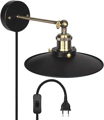 Luminaire Applique Murale Couloir Retro avec Abat Jour en Metal Noire Douille de Lampe E27 et Prise Alimentation Diamètre de Abat Jour 22CM Ampoule Non Inclus Lot de 1 de Enuotek