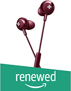 (Renewed) Philips Bass+ SHE4305 Headphones with Mic (Red)