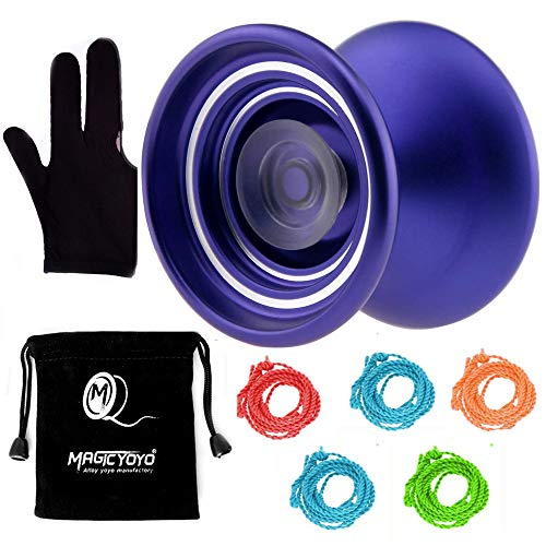 MAGICYOYO Responsive Aluminum Metal Yoyo K7 for Beginners with Yoyo Bag+ Yoyo Glove+5 Yoyo Replacement Strings (Purple)