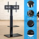 FITUEYES TV Floor Stand with Mount for TVs up to 65 Inch LCD LED Flat/Curved Screens, Universal Swivel Televisions TV Mount Stand for Bedroom Living Room, Black Tempered Glass Base,TT207001MB #4