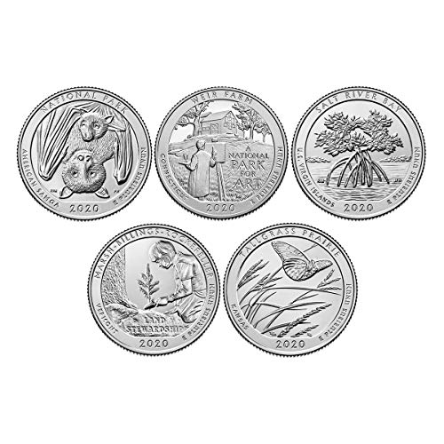 2020 S National Park Quarter 5 Coin Set Uncirculated