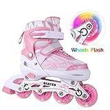 WeSkate Kids Inline Skates with Adjustable Size Light Up Flashing Wheel Roller...