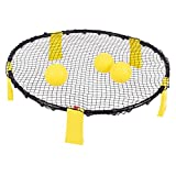 DRM Volleyball Game Set Spike Battle Ball Game Set - 3 Balls Included - Perfect for Beach, Lawn, Yard, Outdoor Playing - Super Game Set for Kids/Adults/Family/Friends - Spikeball (Plastic Legs)
