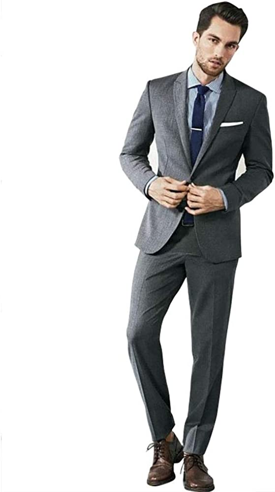 Classic Mens Tailored Slim Fit Wedding Tuxedo Gray Suit for Big and Tall