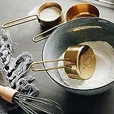 QIQI Edelstahl Messlöffel Set Gold Messbecher und Löffel Küche Backenwerkzeuge Metall Messlöffel für Kaffeepulver, Gold