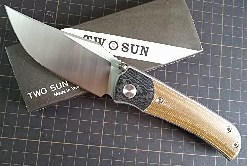 TwoSun Outdoor Micarta Carbon Fiber Titanium Folding Flipper Knife TS301-D2