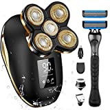Bald Head Shavers for Men, OriHea Electric Razor for Men with Handle Shaver Professional Waterproof with LED Display, Faster-Charging, 90 mins Working, 5D Floating