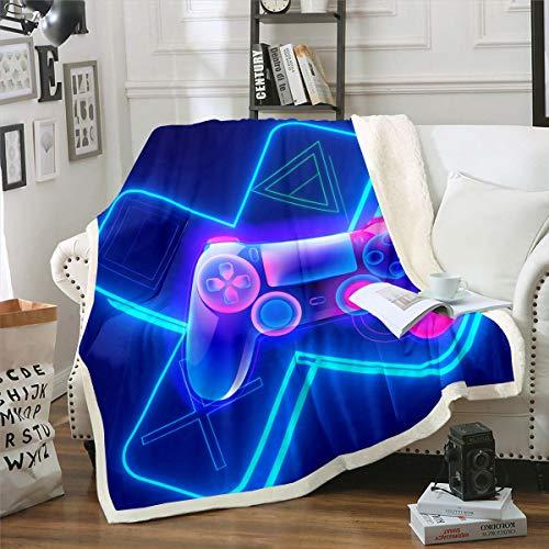 Coperta in pile per videogiochi, videogiochi, per bambini, ragazzi, coperta in peluche, motivo geometrico, triangolo sfocato, per divano, letto, divano, blu, bambino, 70 x 100 cm