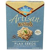Blue Diamond Almond Artisan Nut Thins Cracker Crisps, Flax Seeds, 4.25 Ounce