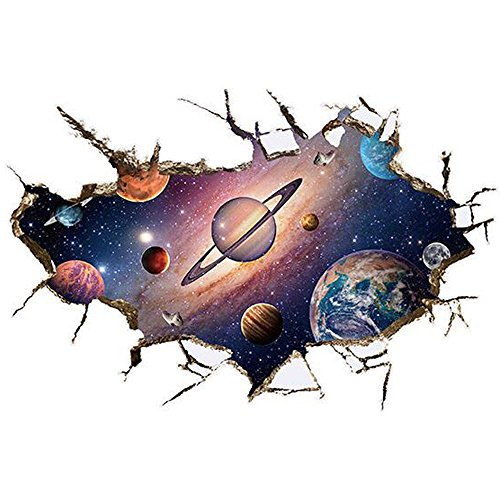 Winhappyhome Planet of The Universe Art Mural Stickers pour Enfants Chambre à Coucher Salon TV Chambre d'enfant Fond Amovible Décoration Stickers