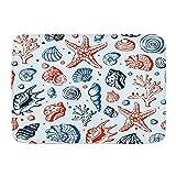 KENADVI Alfombras de baño,Conchas De Acuario Espiral Caracol Color Vacío Concha Corales Concha Estrella De Mar Submarino, Artículos de baño Felpudo, Antideslizante