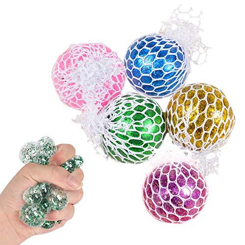 ZoneYan 5 Pièces Balle Anti-Stress, Balle Anti-Stress Enfant Filet, Balle de Décompression, Balle de Slime, Squeeze Ball, Squishy Mesh Ball, Jouet Anti-Stress Balle Squishy, pour Enfants et Adultes