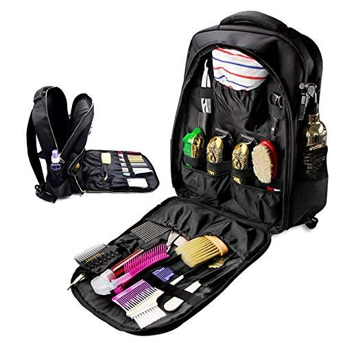 WOERD Kit de Maquillaje Neceser Make up Bolso Cosmeticos Portatil Mochila de Peluquería Negra Profesional Multifuncional Bolsa de Herramientas Estuche de Almacenamiento de Viaje
