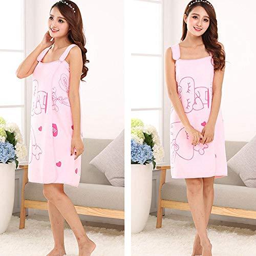 Falda de baño con estampado de dibujos animados que se puede usar como toalla de baño, toalla de playa superabsorbente, falda de baño, toalla de baño para ducha, spa, playa, gimnasio rosa claro