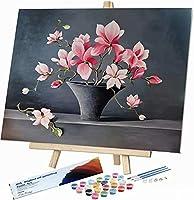 DIY 数字油絵 数字塗り絵 大人の子_美しい花_供のためのギフト デジタル油絵_数字キットでペイント ホーム オフィス装飾_45x30cm_ フレームレス