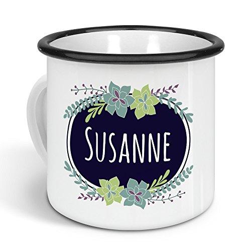 printplanet - Emaille-Tasse mit Namen Susanne - Metallbecher mit Design Flowers - Nostalgie-Becher, Camping-Tasse, Blechtasse, Farbe Schwarz, 300ml