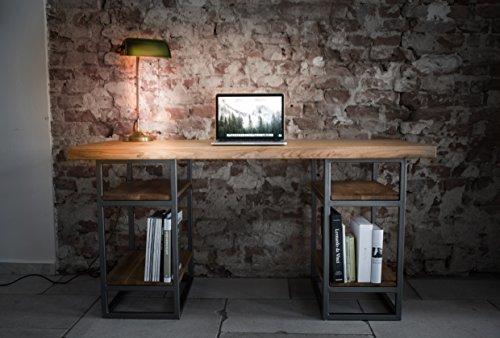 Schreibtisch Elon aus Massivholz Eiche mit Stahlgestell
