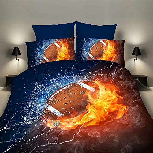 "RORA Bedding Duvet Cover Set 2 Piece Set 1 Duvet Cover+1 Pillowcase– 3D Sports Football Microfiber Bedding –Football Twin 59"" x 83"" Duvet Cover"