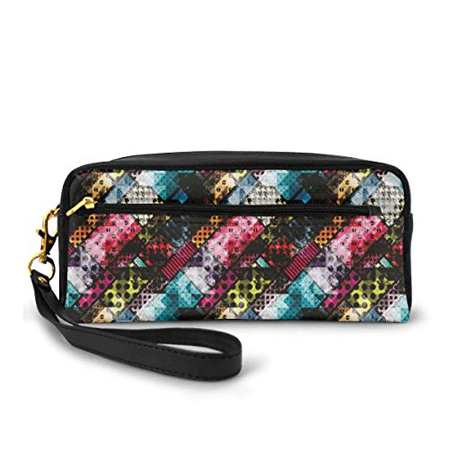 Pencil Case Pen Bag Pouch Stationary,Grunge Modern with Polka Dots Tartan Murky Toned Effects Diagonals Kitsch Pattern,Small Makeup Bag Coin Purse