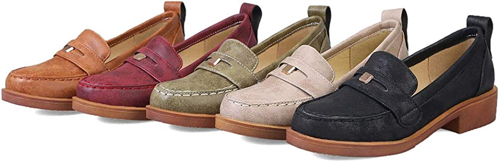 VIMISAOI Women's Slip On Flat Penny Loafers Moccasins, Leather Walking Driving Boat Shoes