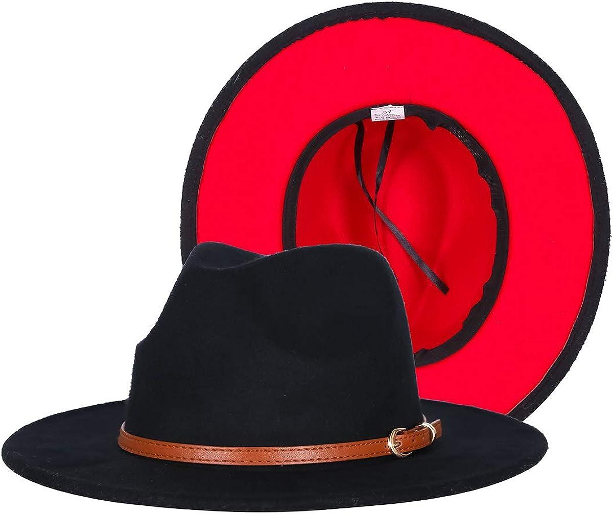 EachEver Women's Woolen Wide Brim Fedora Hat Classic Jazz Cap with Belt Buckle