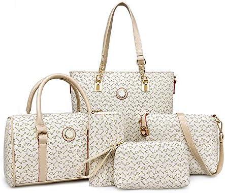 Women Handbags Set 6 PCS Tote Shoulder Crossbody Bags Clutch Top Handle Satchel Purse Off white product image
