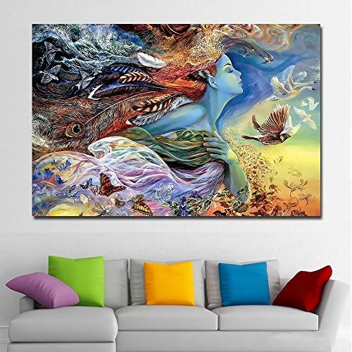 Suhang Hd Print, abstracte grafische afbeelding, mooi meisje met vlinder vogel schilderij gedrukt op canvas, poster thuis, decoratie, kunst schilderij 60x90CM NO FRAME ongeframed.