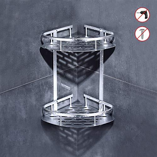 sunvito Estantes para Ducha, Entramado de baño, Estantes de baño de Aluminio Espacial Perforado, con Gancho para Colgar, para Champú y Gel De Ducha (Organizador de Ducha 2 Niveles)