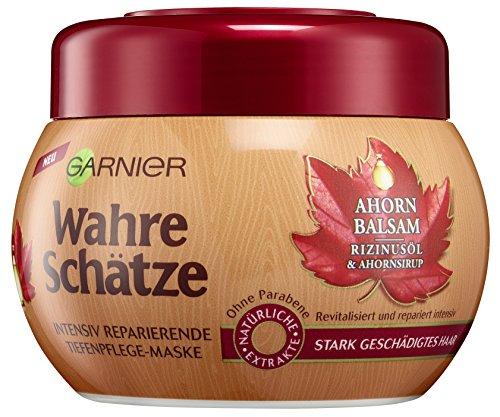 Garnier Wahre Schätze Intensiv Reparierende Tiefenpflege-Maske, Haarkur mit Rizinusöl und Ahornsirup, Maske (6 x 300 ml)