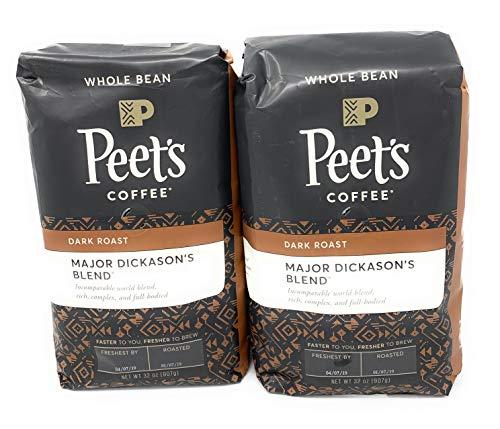 Peet's Coffee, Major Dickason's Blend, Dark Roast, Whole Bean 32oz (2 Pack)