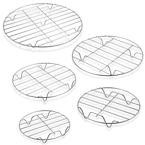 5 Pieces Round Cooling Rack Circular Wire Rack 12'/ 10'/ 9'/ 7'/ 6' Stainless Steel Round Baking and Cooling Steaming Cake Rack