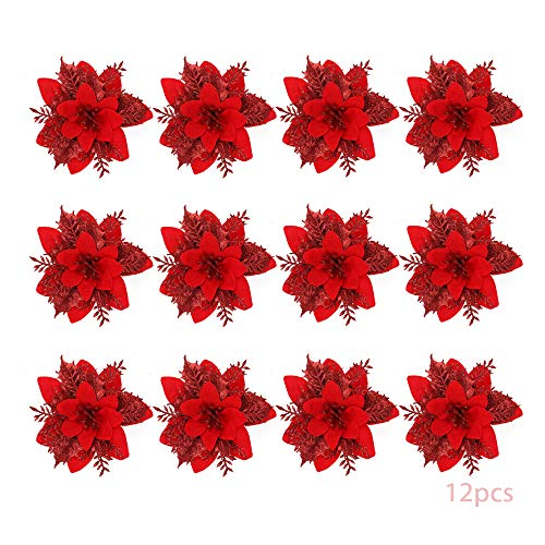 Anyingkai 12pcs Flores Navidad Artificiales,Flores de Pascua Navidad,Flor de Simulación Navideña,Flor Navideña Brillanteflores Navidad (Rojo)