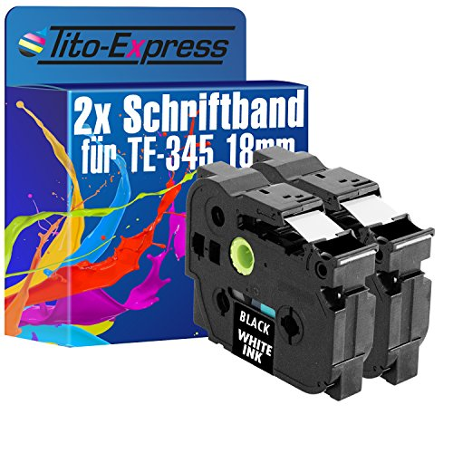 Tito-Express Platinum Series 2 Cassette a nastro compatibile con Brother TZ-345 TZe-345 18mm P-Touch 1000 1005 F FB BTS 1010 1080 1090 1200 P 1230 PC 1250 J LB S 1260 VPS 1280 CB DT VP