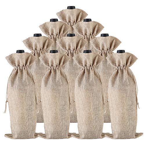 BestTas 50PCS Sacchetti di Vino di Iuta avvolgono Confezioni di Sacchetti di Bottiglia di Vino di Iuta di Lino Naturale con Cordino 35 x 15 cm (50pc)