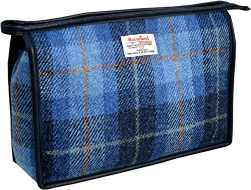 Vagabond Bags Harris Tweed Blue Check Large Holdall Bag Trousse de toilette, 28 cm, Bleu (Mid Blue)