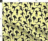 Spoonflower Stoff – Gelb klein schwarz Boxer Kampfjunge