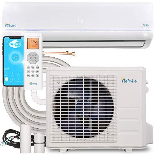 Senville Aura Series Mini Split Air Conditioner Energy Star Cold-Climate Heat Pump 20.5 SEER, 24000 BTU, White
