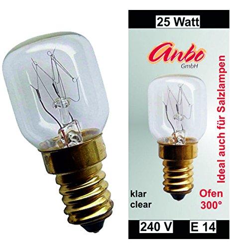5 Stück Glühbirne E14 - 25 Watt Spezial-Leuchtmittel für Salzlampe und Backofen.(4927)