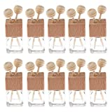 10 Pack,8ml Clear Glass Car Air Freshener Perfume Clip Diffuser,Empty Essential Oil Perfume Vials Diffuser Vent Outlet,Thick Glass Ornament With Wooden Caps,FREE Funnel,Dropper