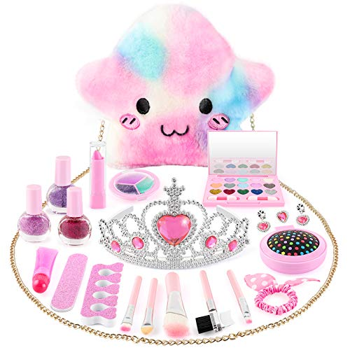 OASO Kids Makeup Kit for Girls, Washable and Safe & Non-Toxic Pretend Makeup Beauty Toys Set with Stylish Bag, Gifts for 3 4 5 6 7 8 Year Old Girls Fit Role Play Game,Princess Dress up