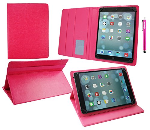 emartbuy Alcatel OneTouch Pixi 3 10 Zoll Tablet Universal (9-10 Zoll) Hot Rosa PremiumPULederMulti-AngleExekutiveFolioGeldbörseTascheHülle Rosa InnenraummitKartensteckplätze + Rosa Stylus