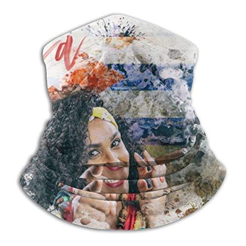 Ruthxiaoliang Pintura Cubana Hermosa de la Acuarela del cigarro de Smuking de la Mujer Foto de Archivo Venda mágica Elegante del Calentador del Cuello del paño Grueso y Suave