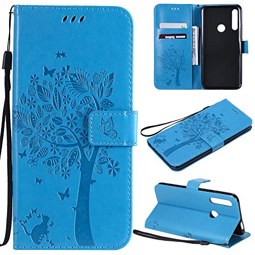 Zchen Huawei P Smart Z Hülle, Honor 9X Hülle, Kunstleder Portemonnaie Handy-Schutzhülle Book Flip Design Klapphülle Etui Tasche für Huawei P Smart Z (Katze-Blau)