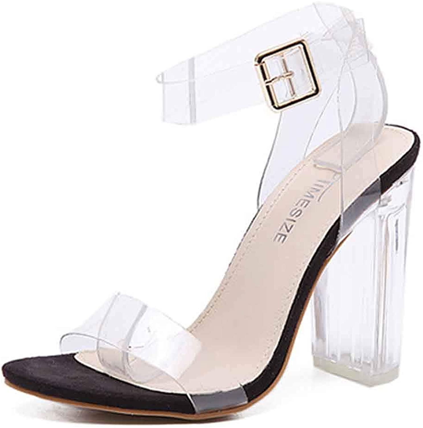 Women's Unique Transparent Buckled Open Toe Clear Chunky High Heel Ankle Strap Jelly Sandals