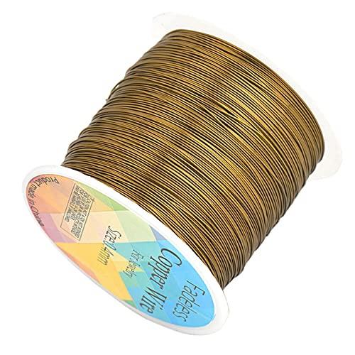 Alambre de Cobre de Colorfast Sólido, Cable de Cuentas DIY Craft Jewelry Hacer Accesorios (Color : Antique Bronze, Size : 0.2mm x 600meters)
