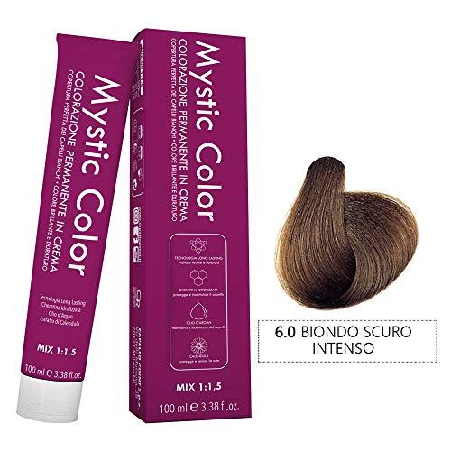 Mystic Color - Coloración Permanente en Crema con Aceite de Argán y Caléndula - Tinte de Larga Duración - Color Rubio Oscuro Intenso 6.0 - 100ml