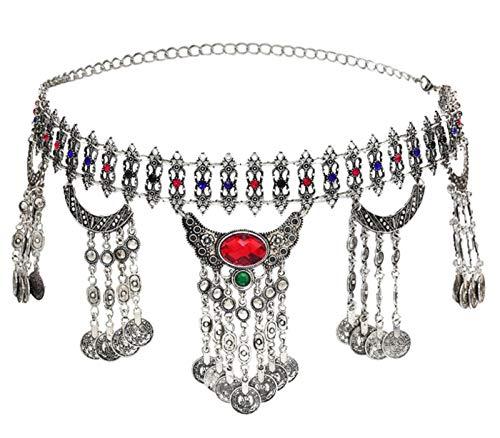MLHXHX Cadena de cintura con borla de estilo bohemio, estilo vintage, con diamantes incrustados, color rojo