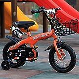 Bicicleta infantil de 3 a 6 años de edad de 18 pulgadas (12/14/16) bicicleta de bebé, freno doble, marco de alto carbono, duradero, se puede utilizar como regalo de cumpleaños, naranja, 18